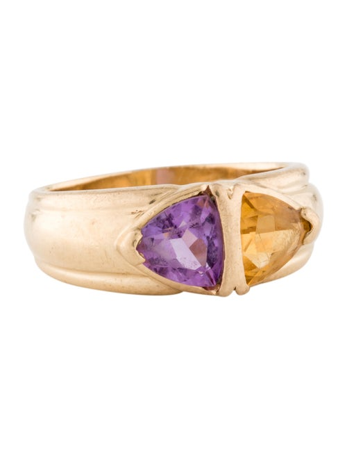 Ring 14K Citrine & Amethyst Cocktail Ring yellow
