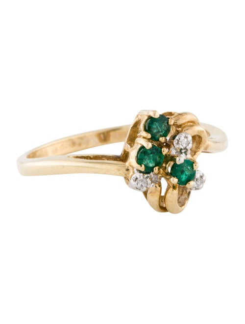 Ring 14K Emerald & Diamond Cocktail Ring yellow