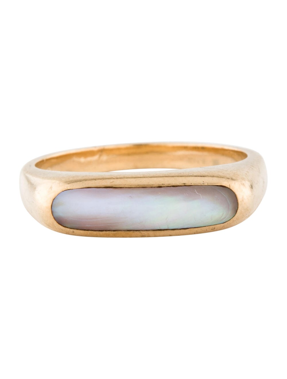 Ring 14K Mother Of Pearl Cocktail Ring yellow - image 3