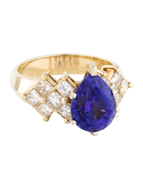 Ring 14K 4.10ct Tanzanite & Diamond Cocktail Ring