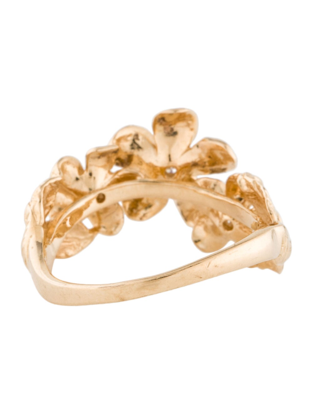 Ring 14K Diamond Flower Cocktail Ring yellow - image 4