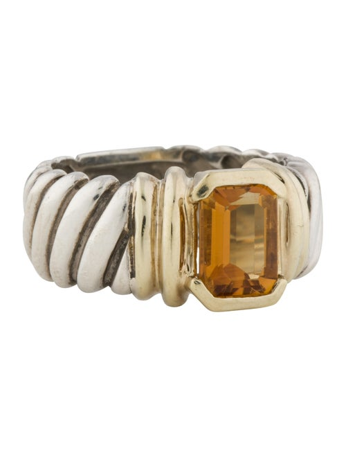 Ring Citrine Cable Ring Silver