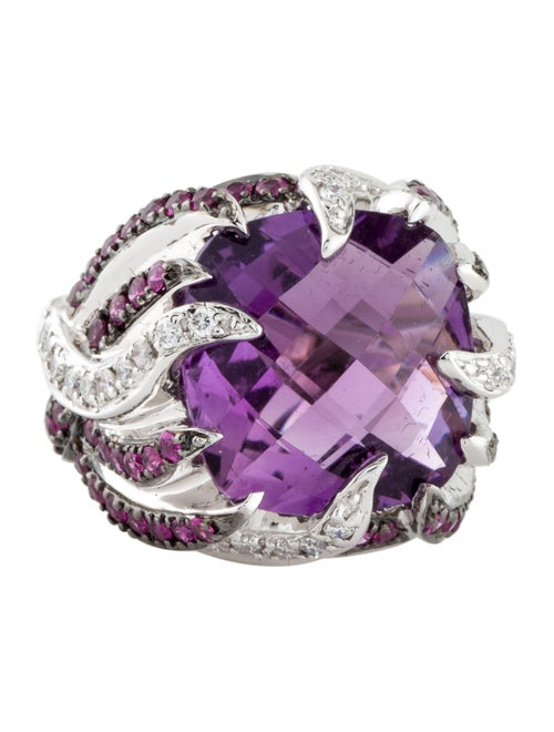 Ring 14K Amethyst, Ruby & Diamond Cocktail Ring S… - image 1