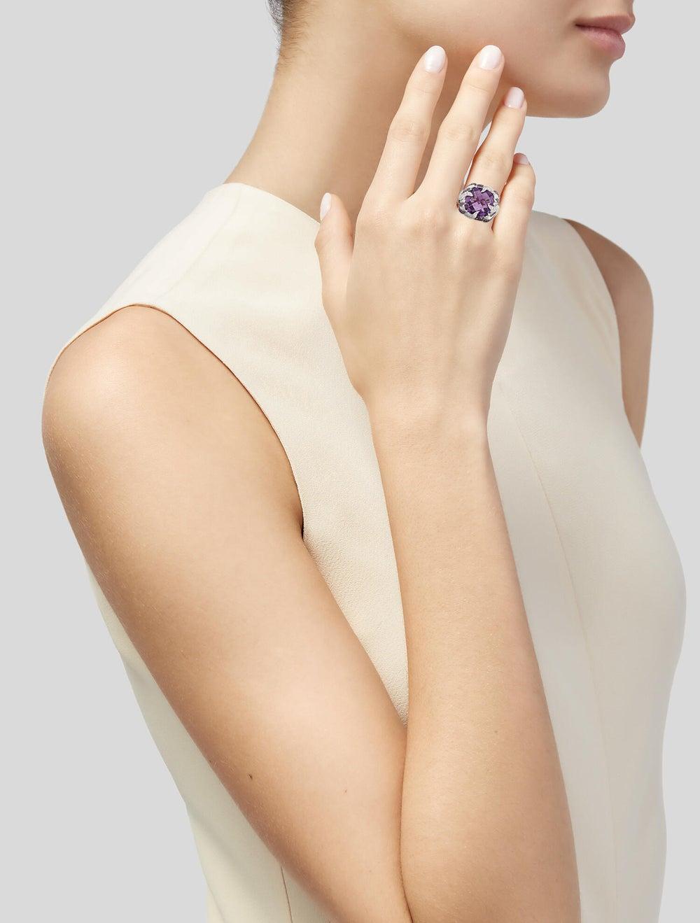 Ring 14K Amethyst, Ruby & Diamond Cocktail Ring S… - image 2