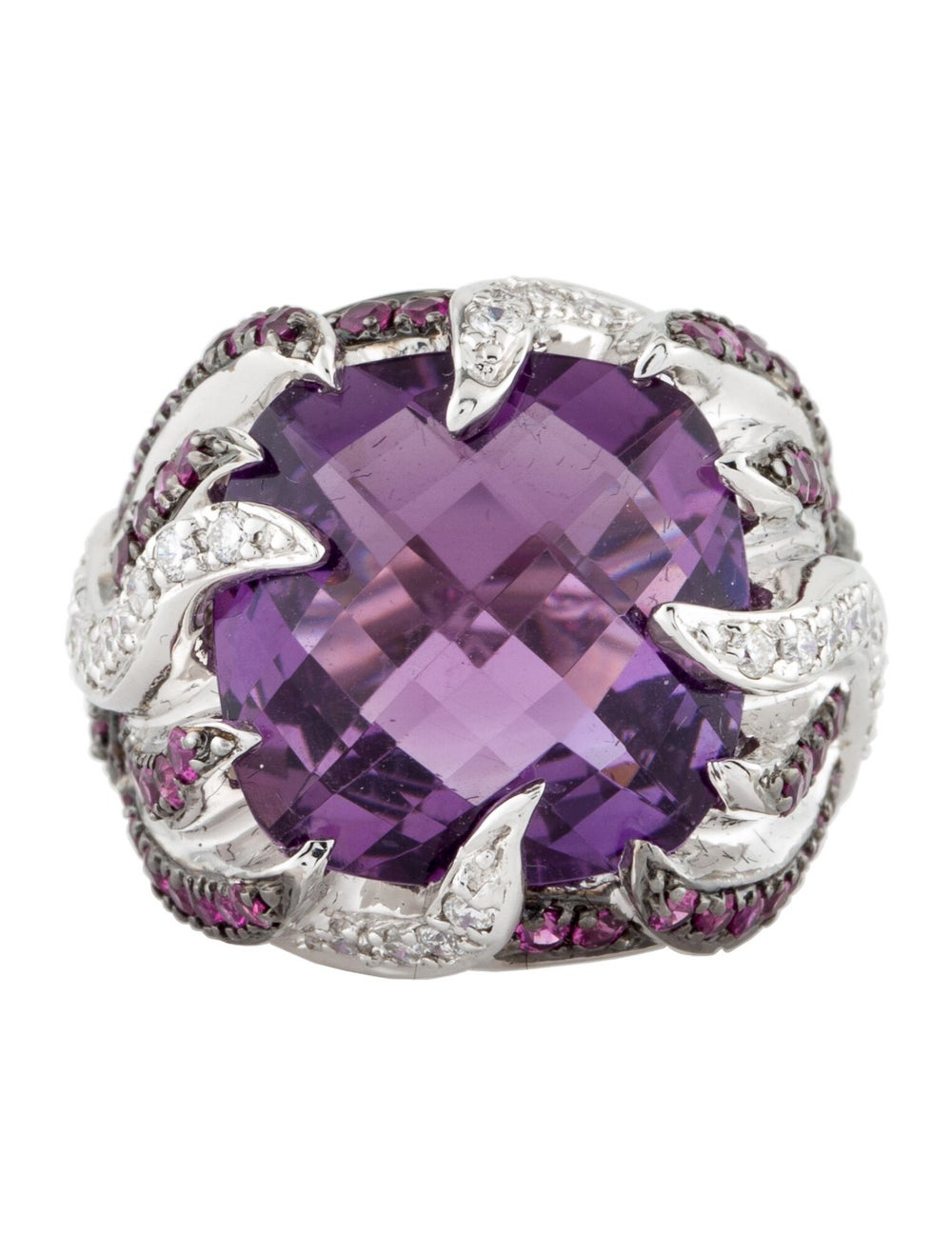 Ring 14K Amethyst, Ruby & Diamond Cocktail Ring S… - image 3