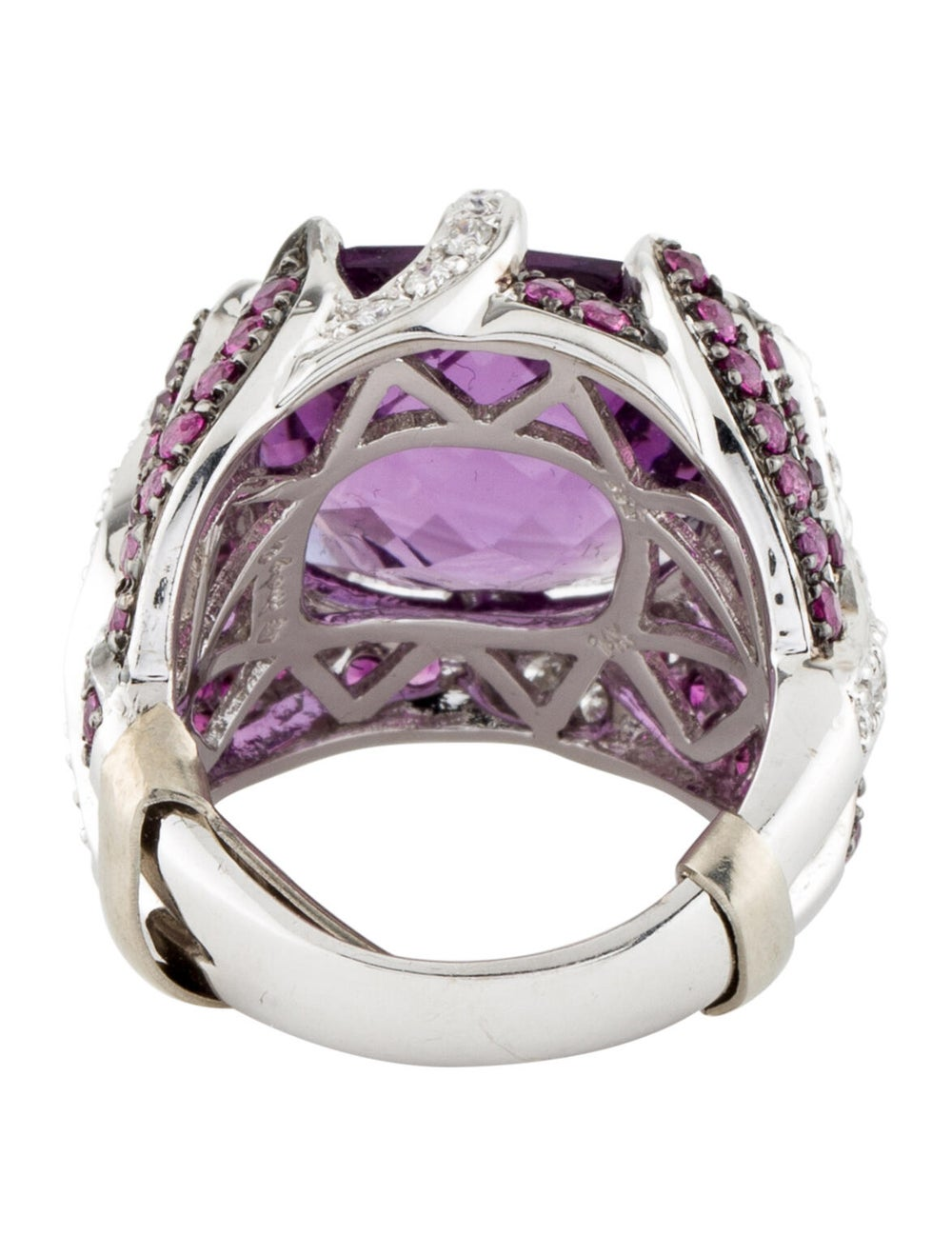 Ring 14K Amethyst, Ruby & Diamond Cocktail Ring S… - image 4