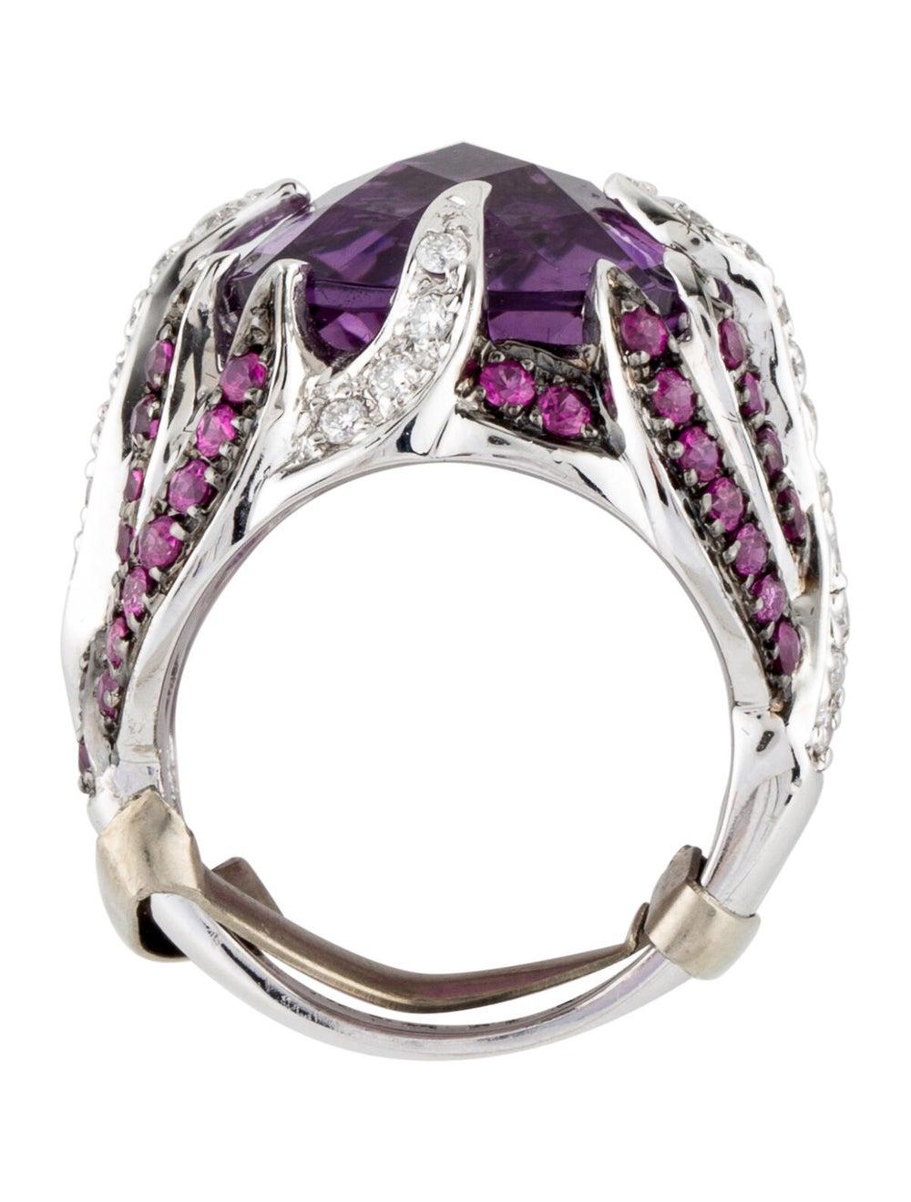 Ring 14K Amethyst, Ruby & Diamond Cocktail Ring S… - image 5