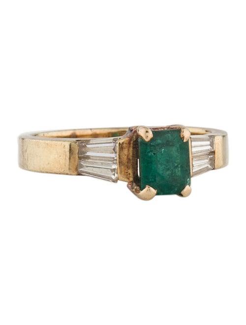 Ring 14K Emerald & Diamond Cocktail Ring Yellow