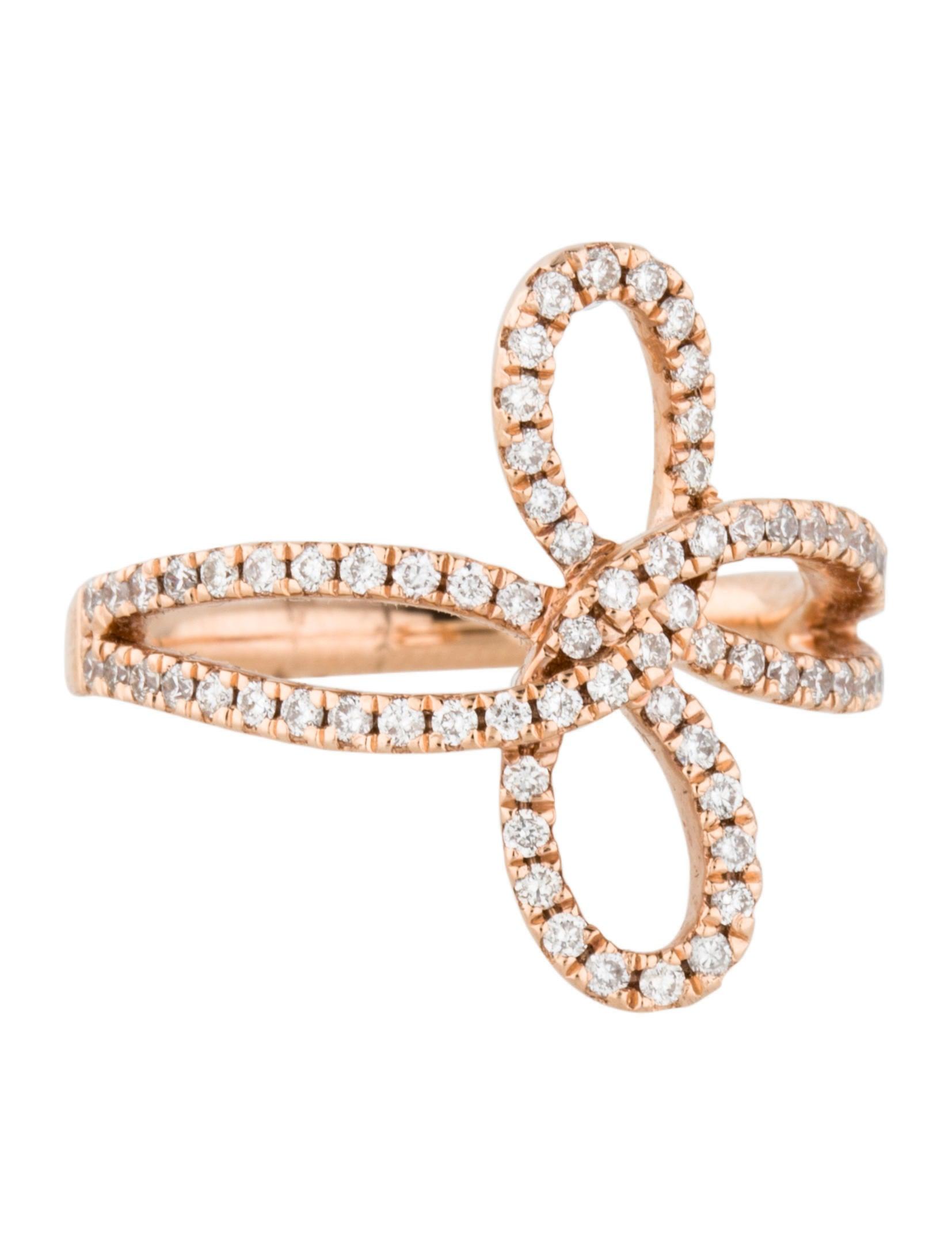 Ring Bow Il Gioiello Personalizzabile Con La Tua Nailart: Ring 14K Diamond Bow Ring - Rings - RRING20005