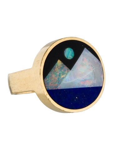 18K Opal, Onyx and Lapis Lazuli
