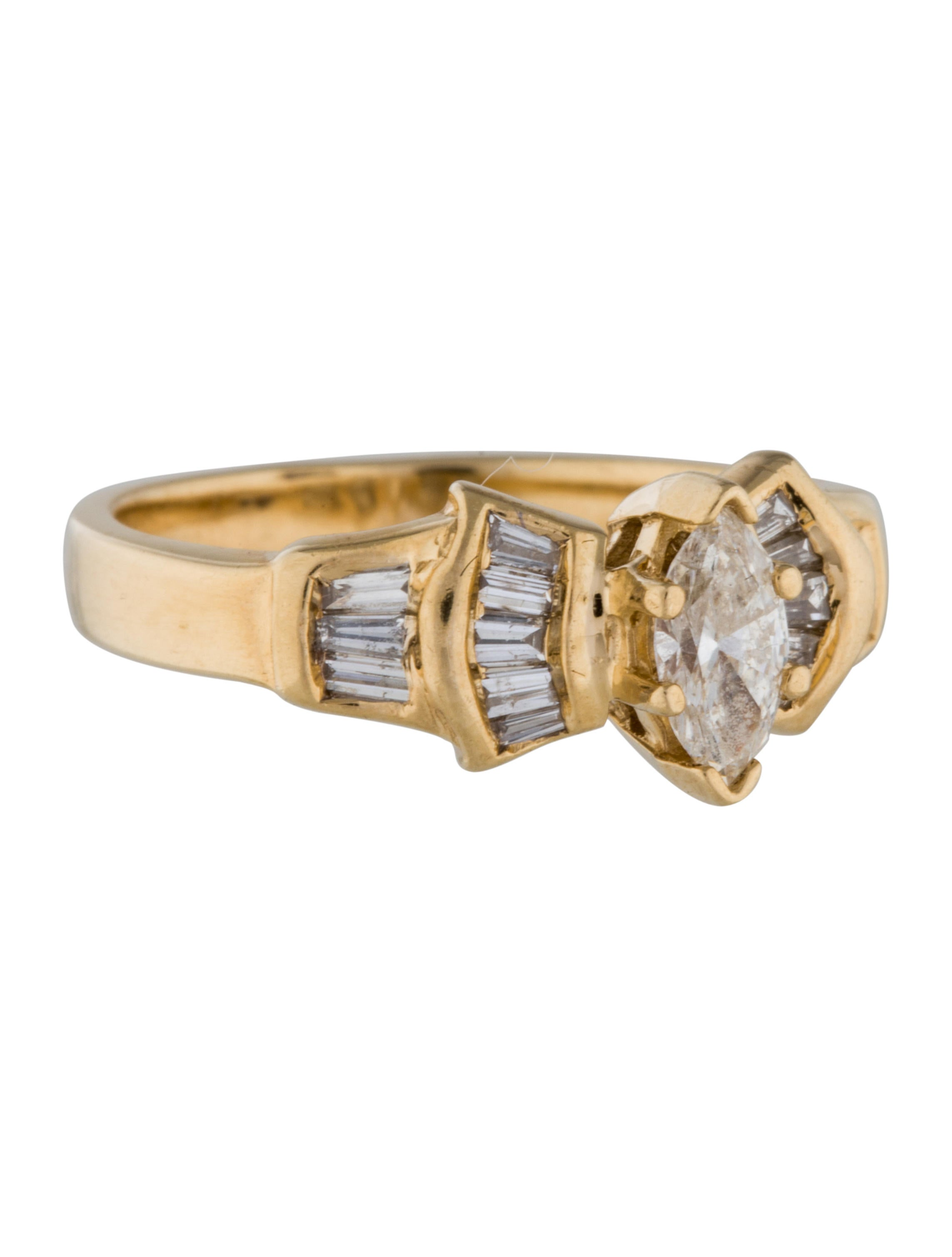 14k Marquise And Baguette Diamond Ring Rings