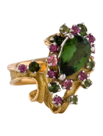 Tourmaline Cluster Ring None