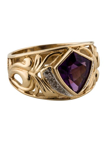 Amethyst & Diamond Ring None