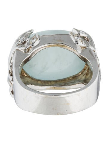 Aquamarine & Diamond Vine Cocktail Ring