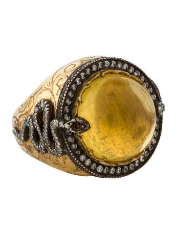 Citrine & Diamond Serpent Ring