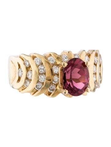 Tourmaline & Diamond Ring None