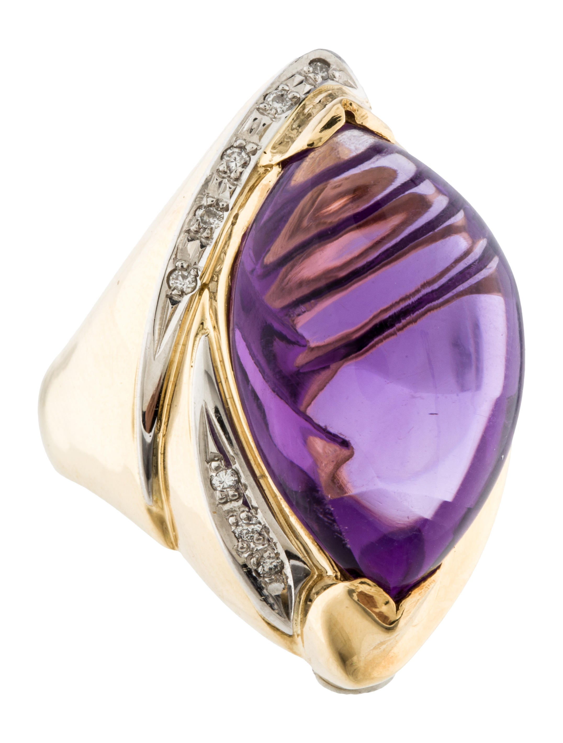 Large Amethyst Amp Diamond Cocktail Ring Rings