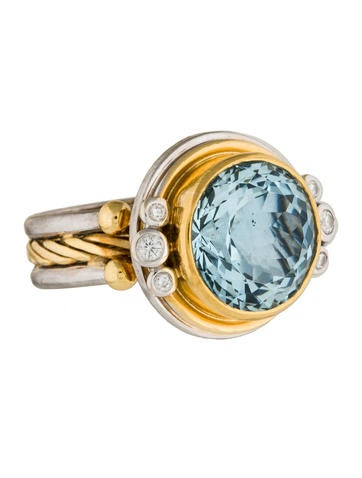 Bicolored Aquamarine and Diamond Cocktail Ring