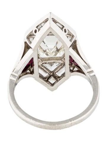 Platinum Art Deco Emerald Cut Diamond Engagement