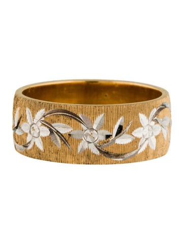 14K Bi-Color Floral Band