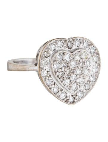 18K Pavé Diamond Heart Cocktail RIng