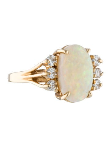 14K Opal & Diamond Ring