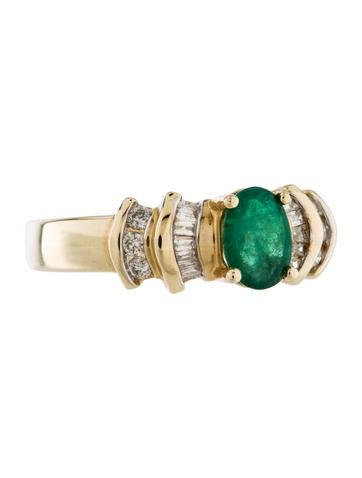 14K Diamond & Emerald Ring