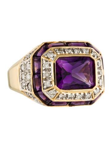14K Amethyst & Diamond Ring None