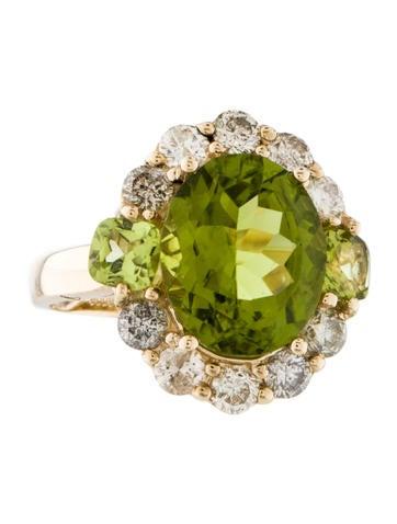 Peridot & Diamond Cocktail Ring None