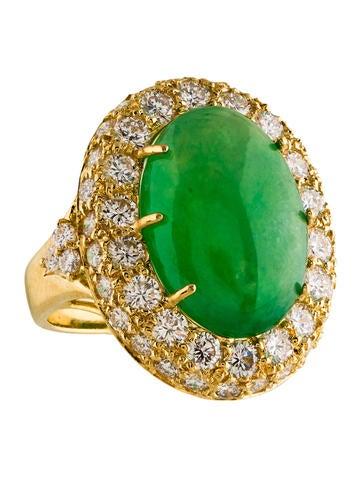 18K Jadeite & Diamond Cocktail Ring