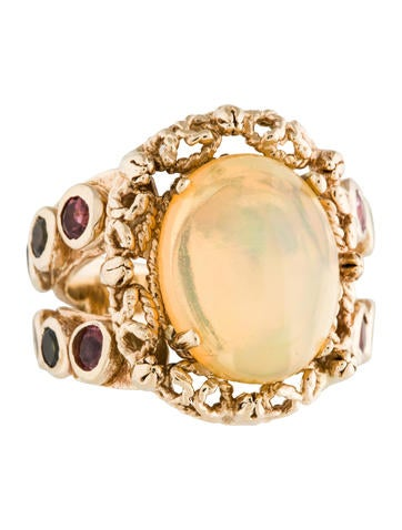 14K Opal & Tourmaline Cocktail Ring