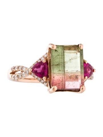14K Parti-Colored Tourmaline & Diamond Ring