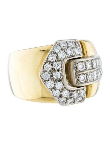 18K Diamond Buckles Ring Band