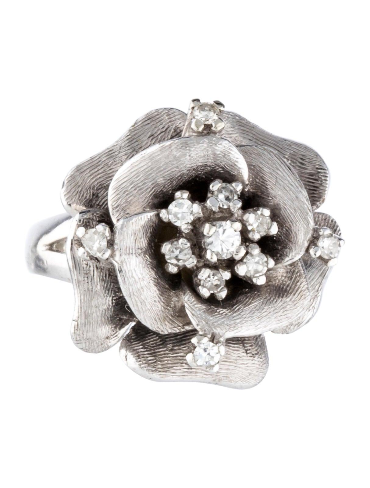 14k textured flower ring rings rring31877