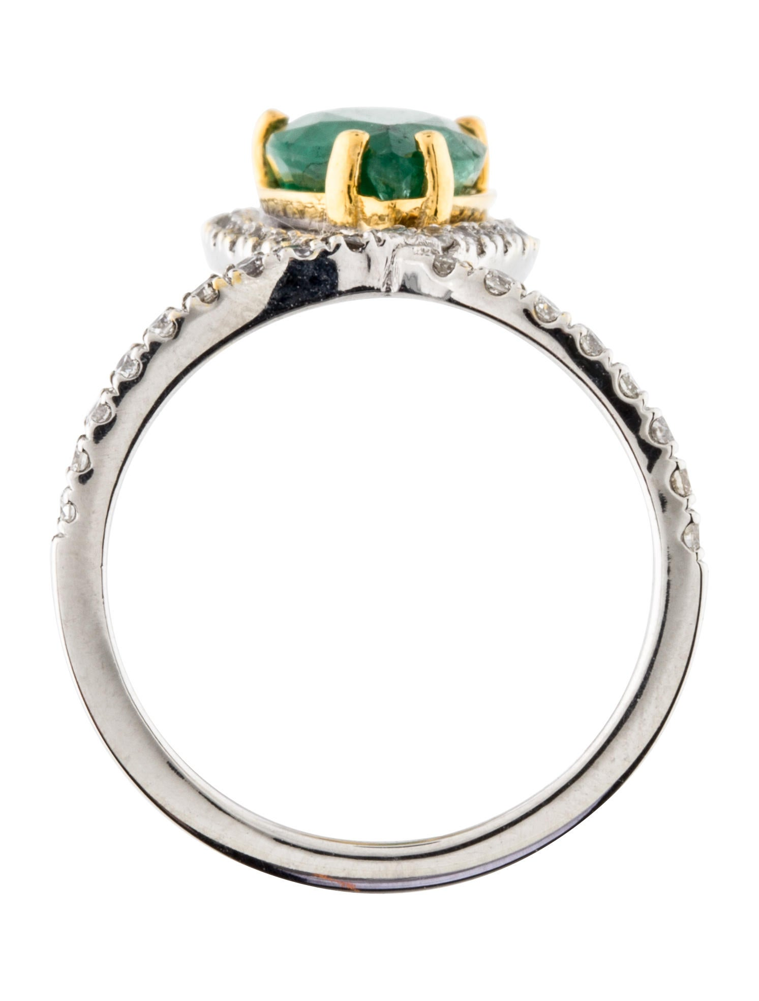 18k emerald two tone ring rings rring32081