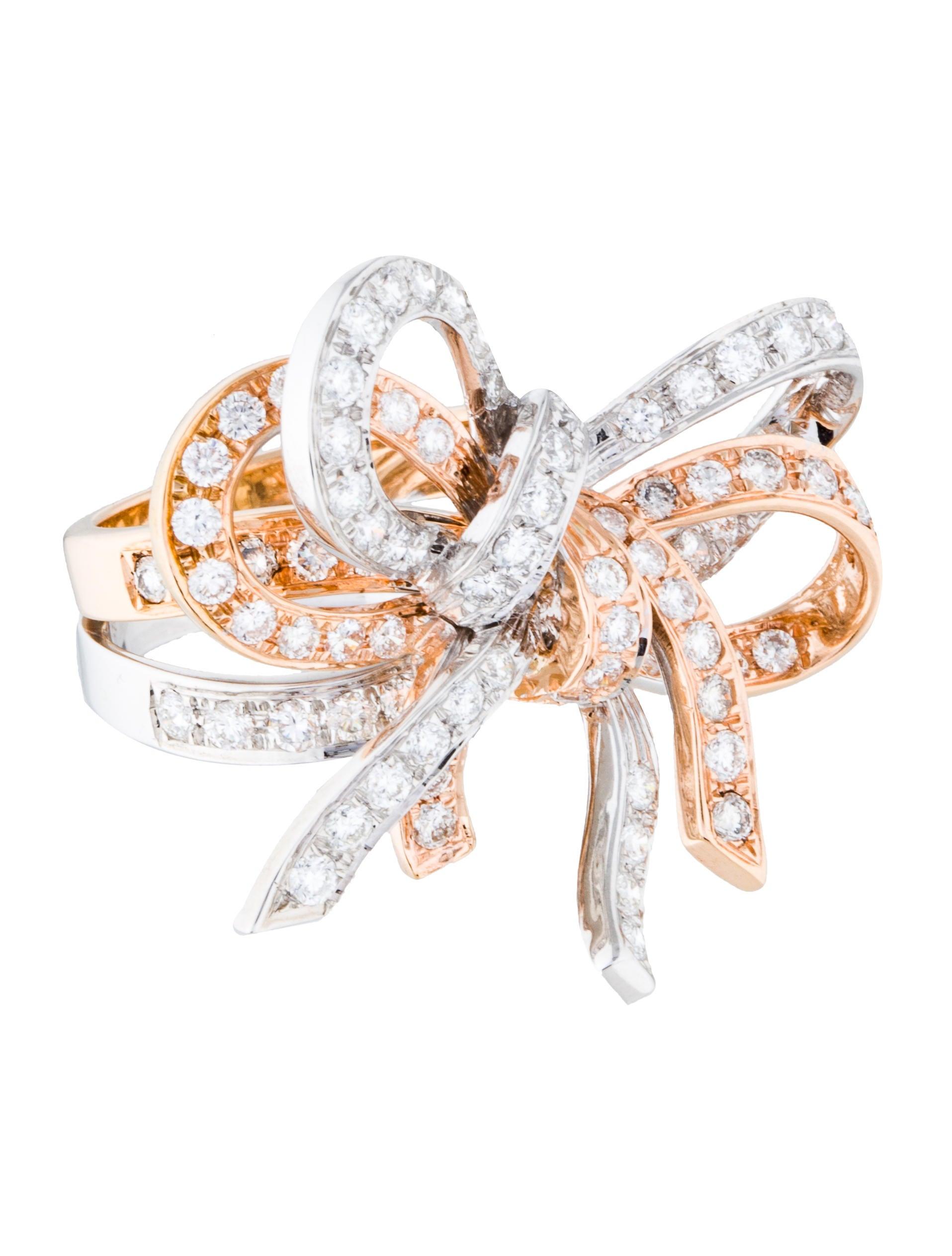 Ring Bow Il Gioiello Personalizzabile Con La Tua Nailart: 18K Diamond Bow Ring - Rings - RRING32105