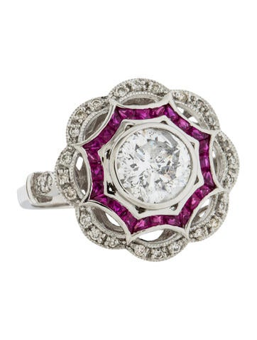 Platinum Ruby & Diamond Art Deco