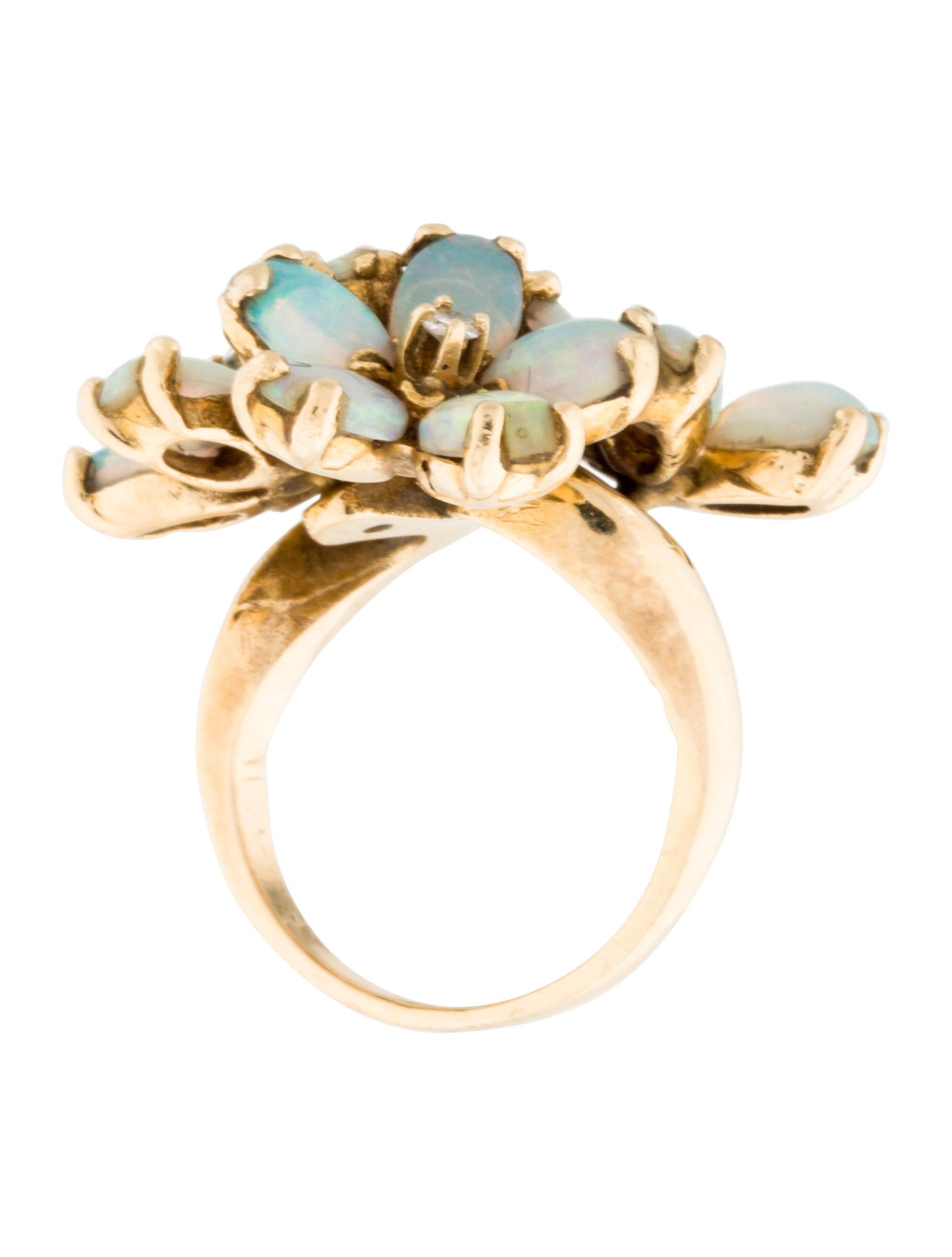 14k Opal Amp Diamond Cocktail Ring Rings Rring32607