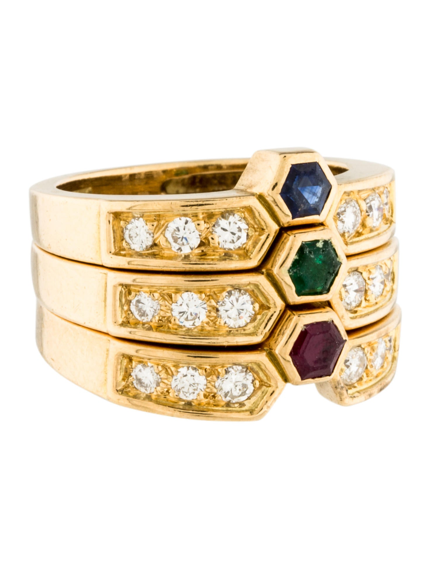 18k diamond multi colored stone stacking ring rings. Black Bedroom Furniture Sets. Home Design Ideas