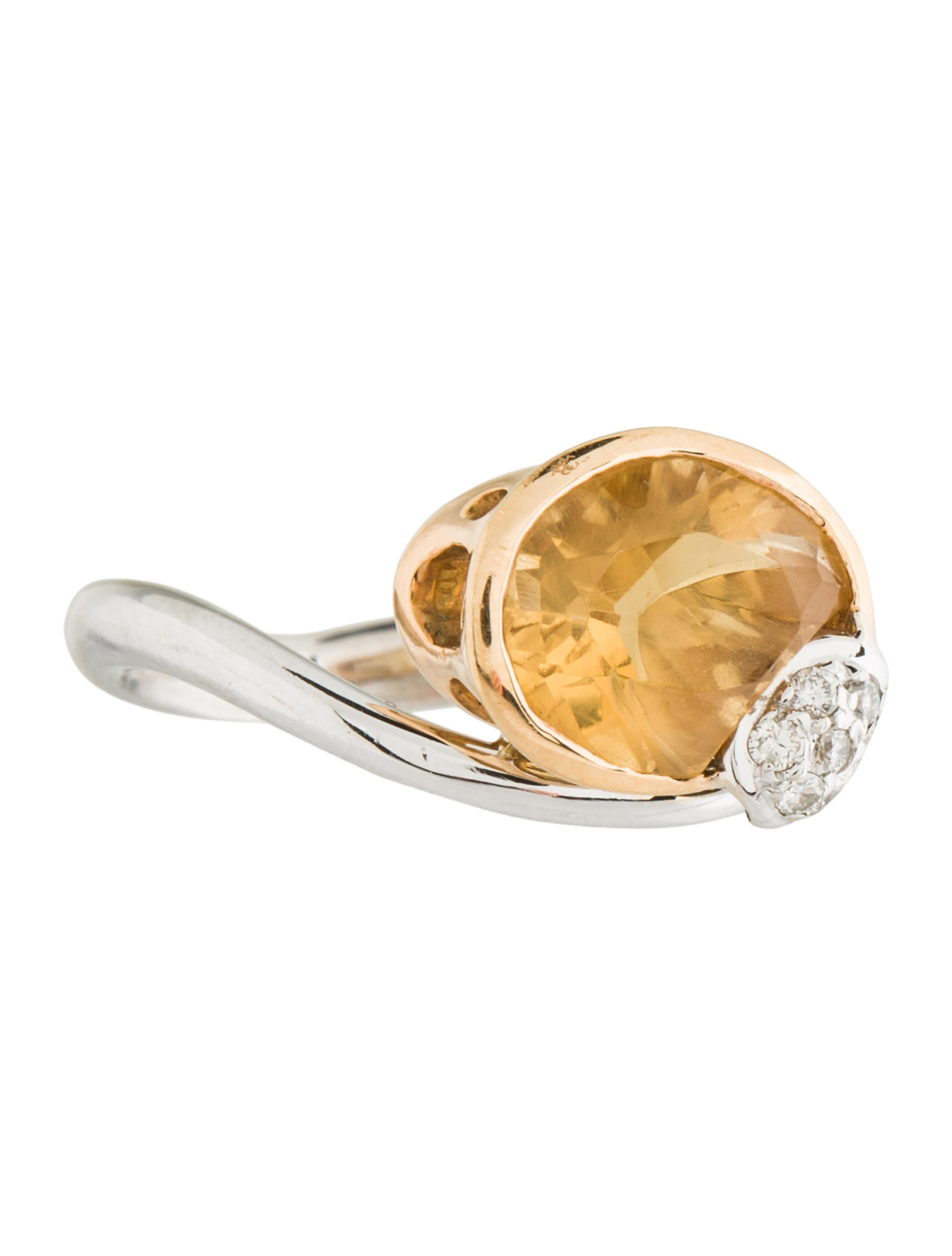 18k diamond amp citrine cocktail ring rings rring34861