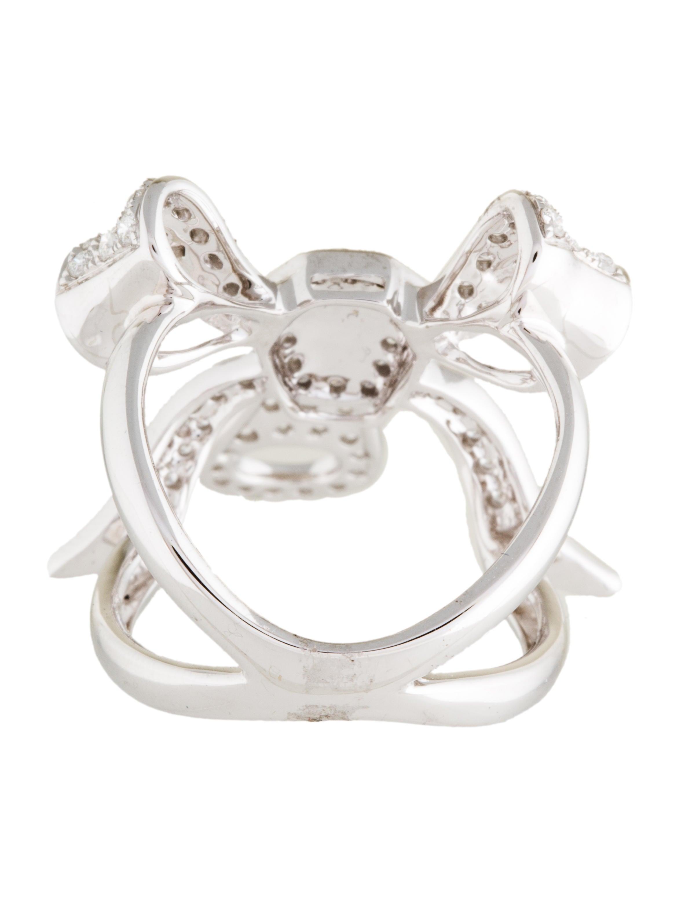 Ring Bow Il Gioiello Personalizzabile Con La Tua Nailart: 18K Diamond Bow Cocktail Ring - Rings - RRING35126
