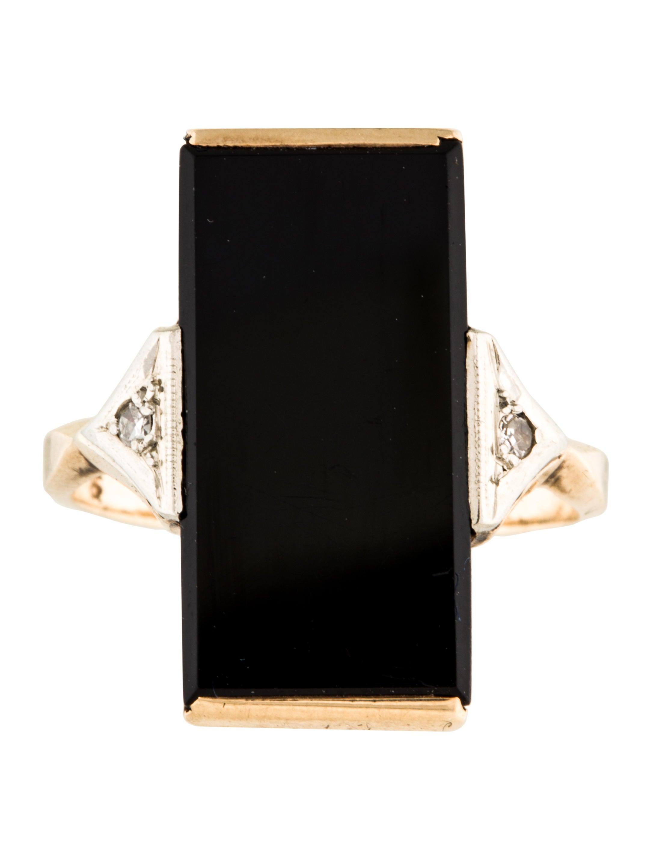 10k Diamond Amp Onyx Art Deco Tablet Ring Rings