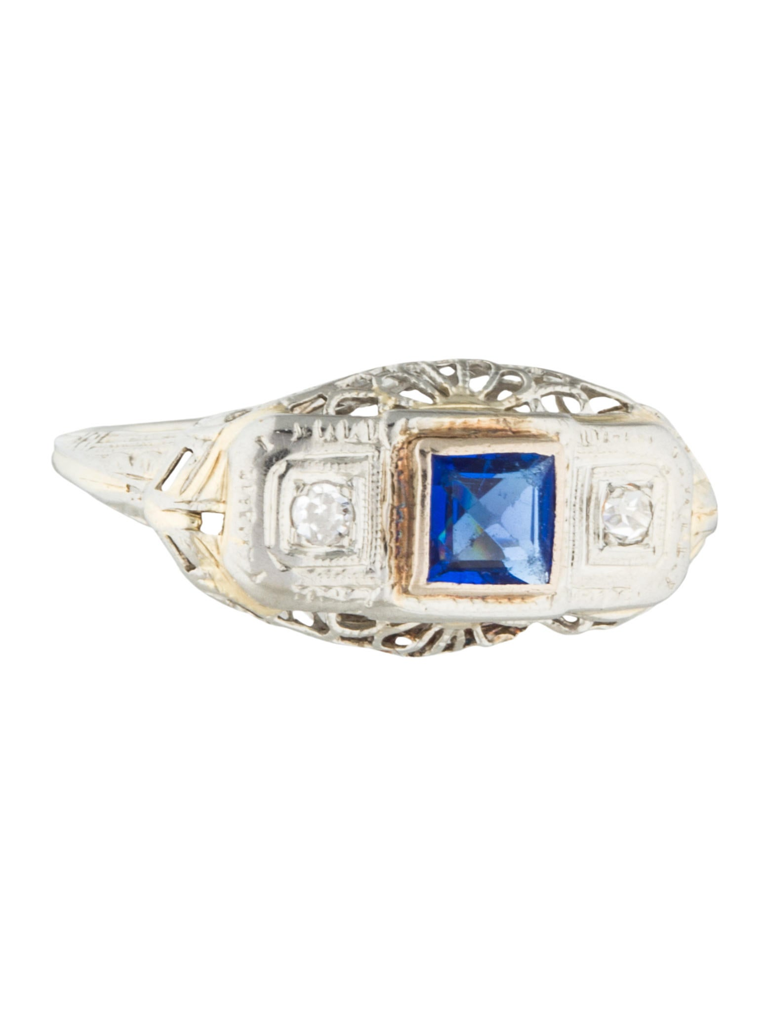 14k synthetic sapphire vintage ring rings