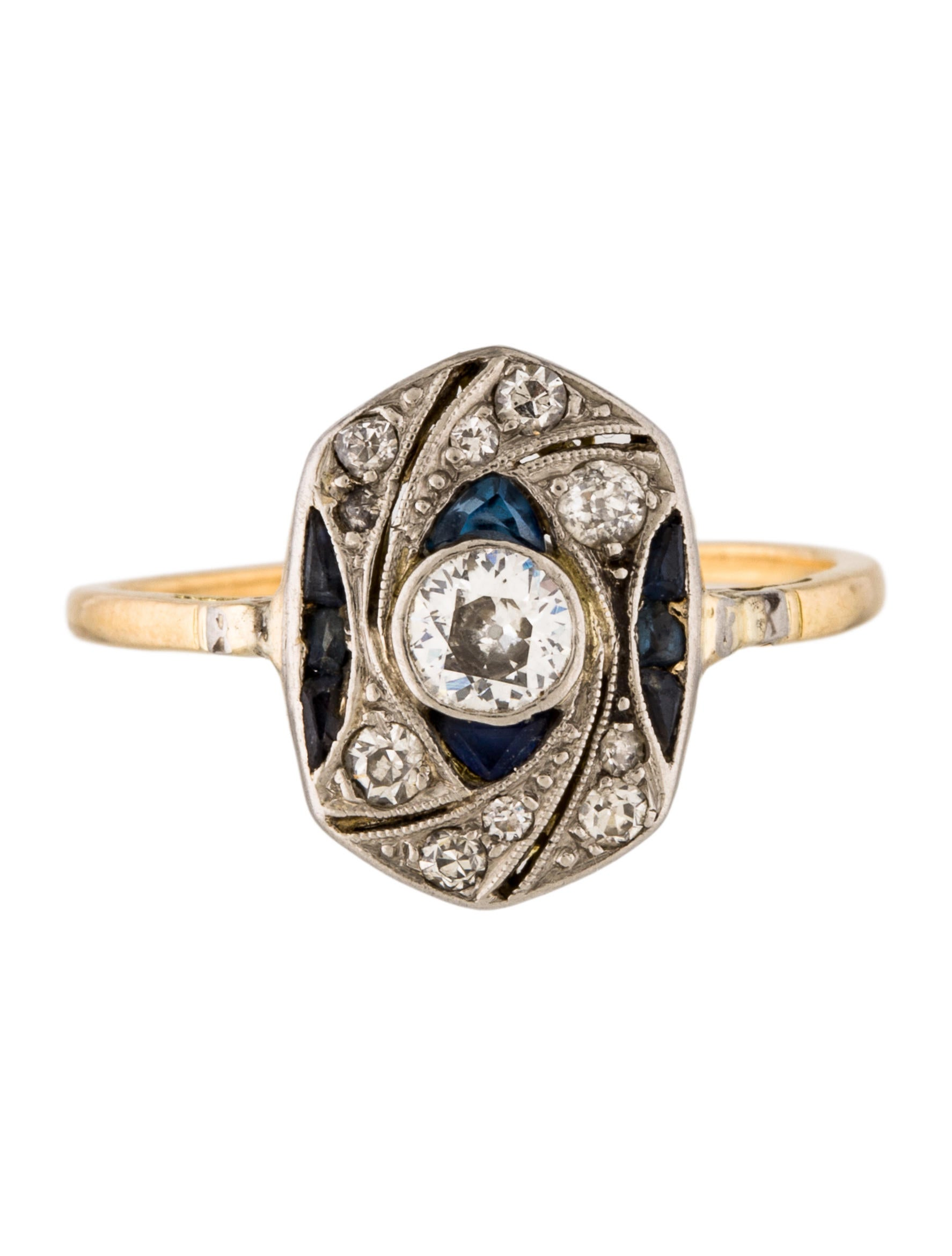 two tone sapphire cocktail ring rings
