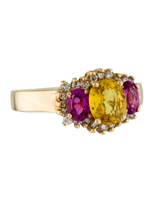 14K Yellow Sapphire, Pink Sapphire & Diamond Ring