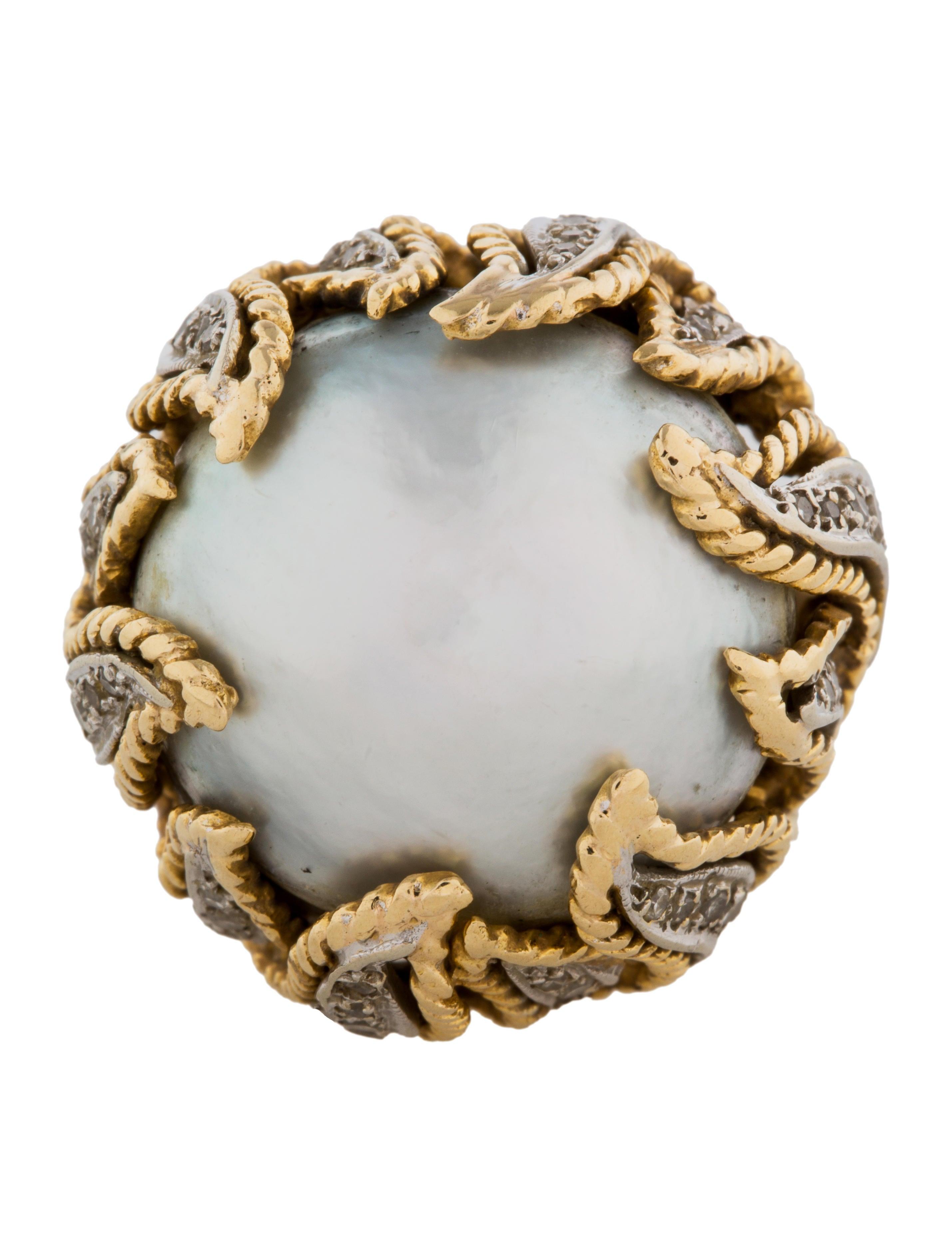 14k mab pearl diamond cocktail ring rings. Black Bedroom Furniture Sets. Home Design Ideas
