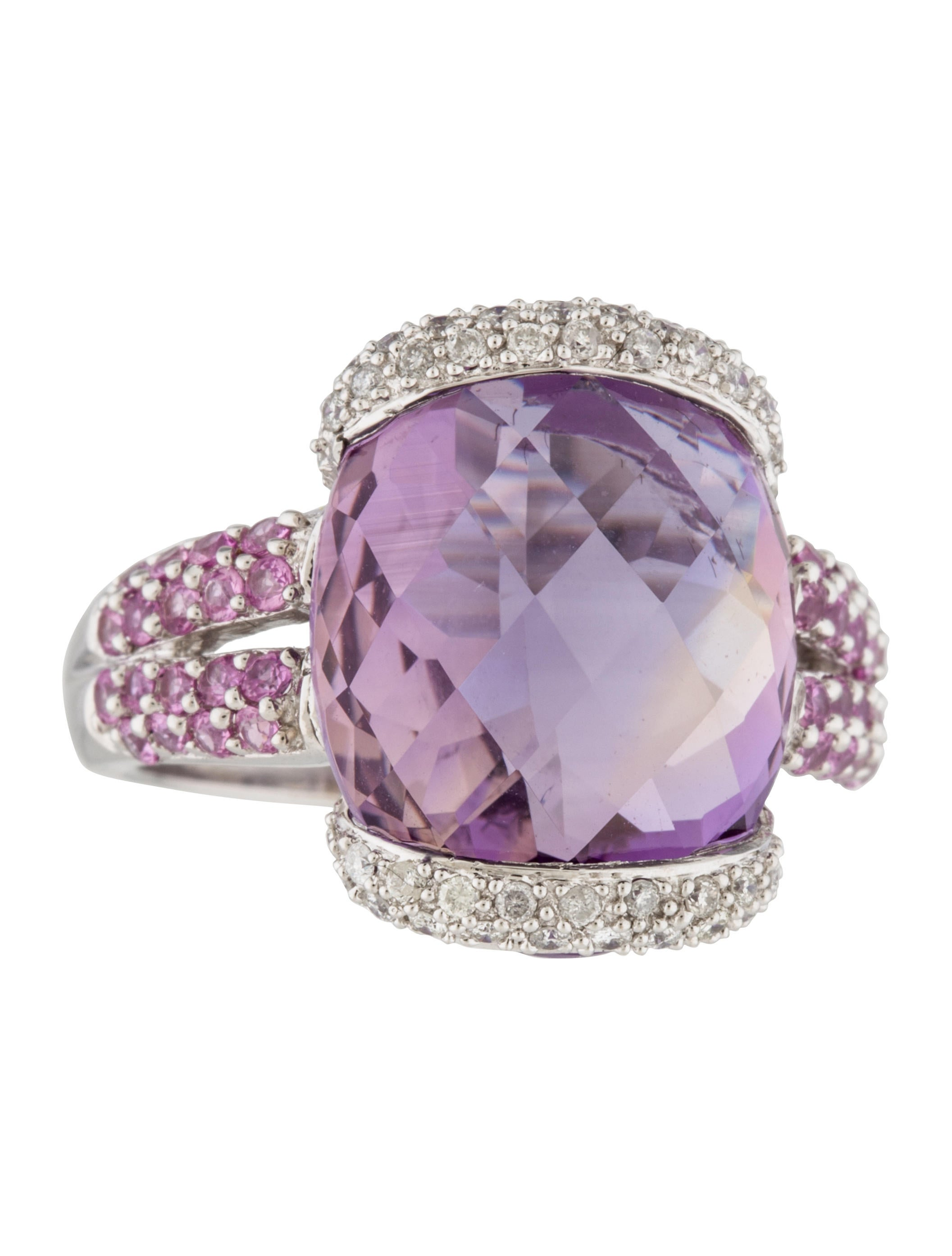 Ring 14k Amethyst Pink Sapphire Amp Diamond Cocktail Ring