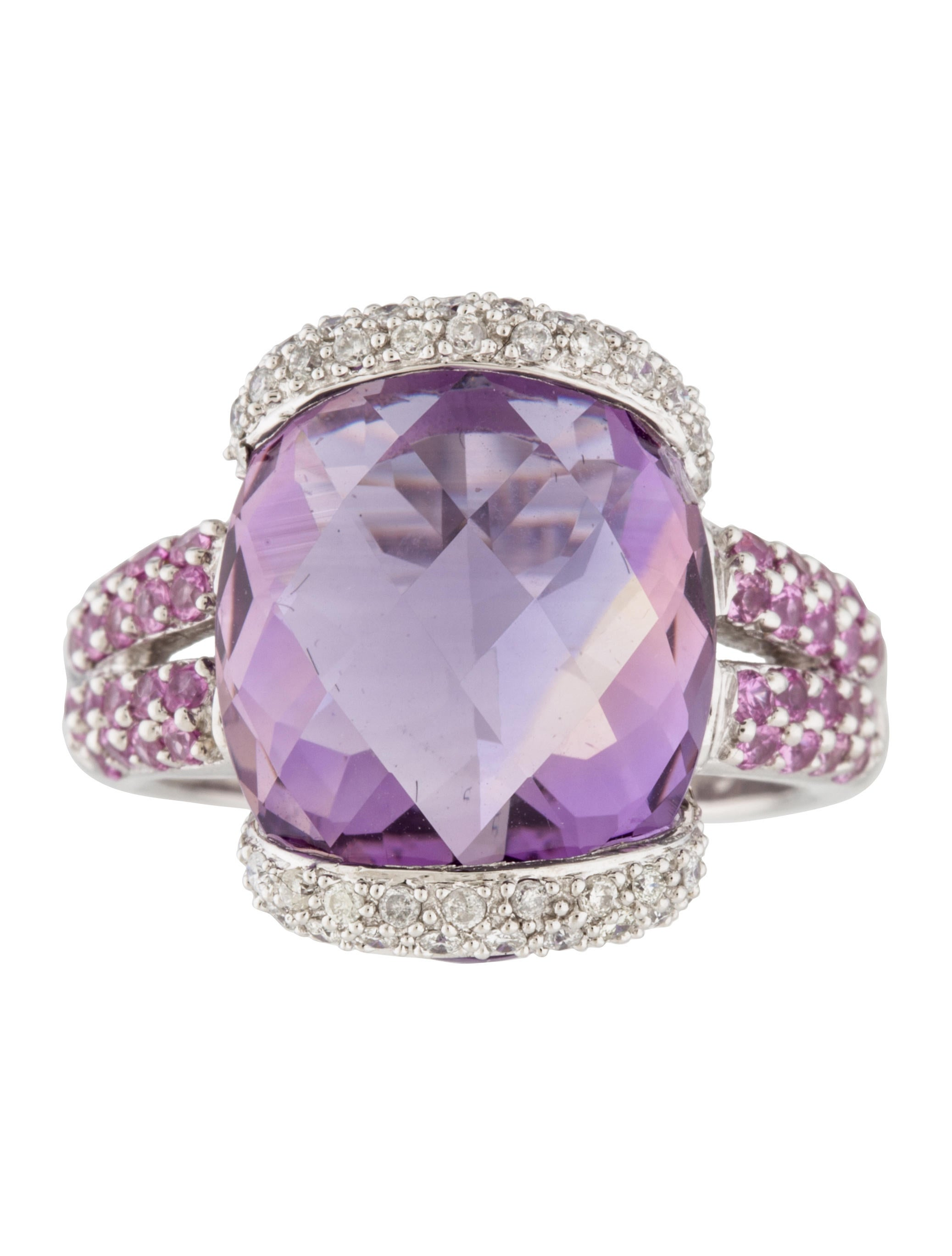 14k Amethyst Pink Sapphire Amp Diamond Cocktail Ring