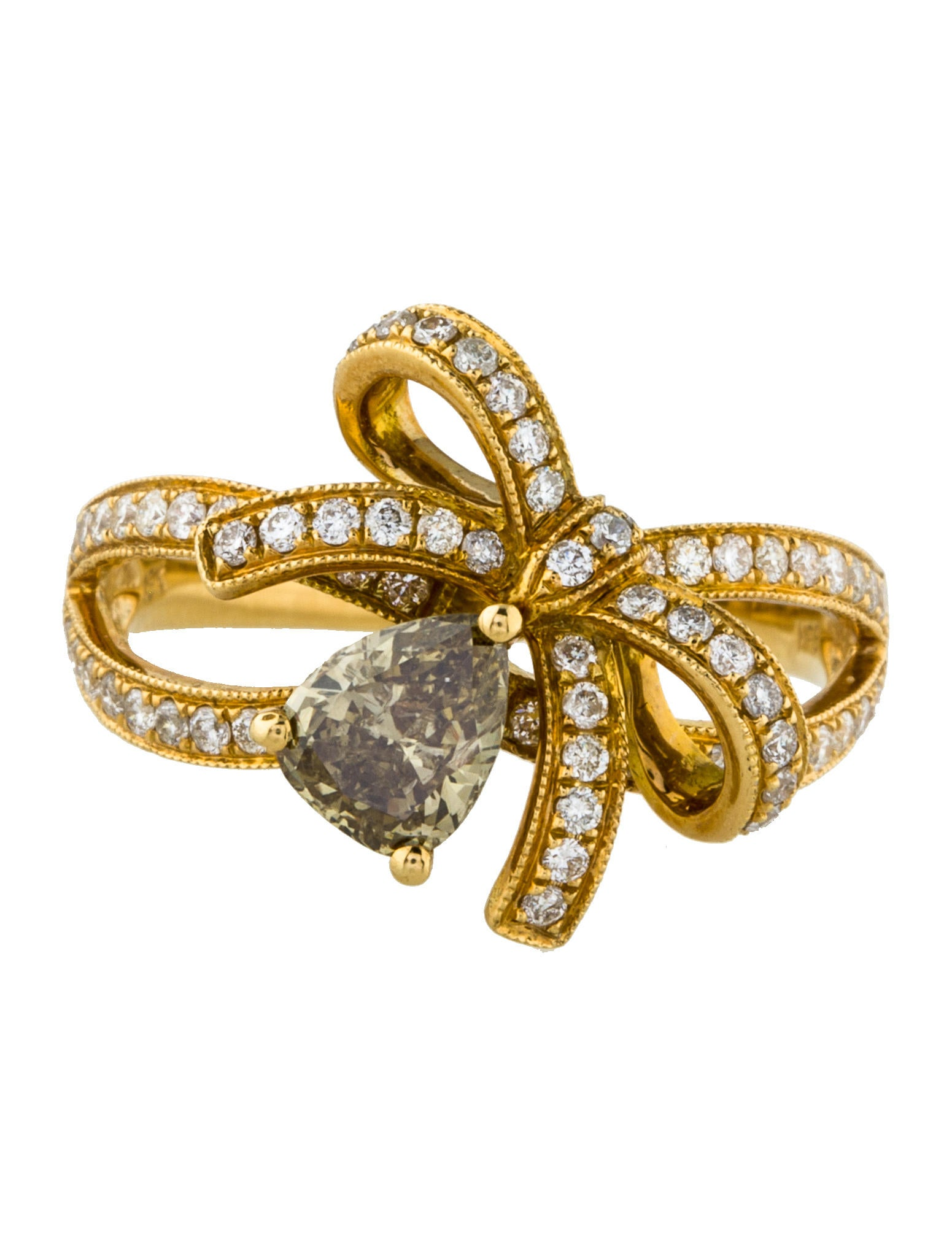 Ring Bow Il Gioiello Personalizzabile Con La Tua Nailart: 18K Diamond Bow Cocktail Ring - Rings - RRING39643