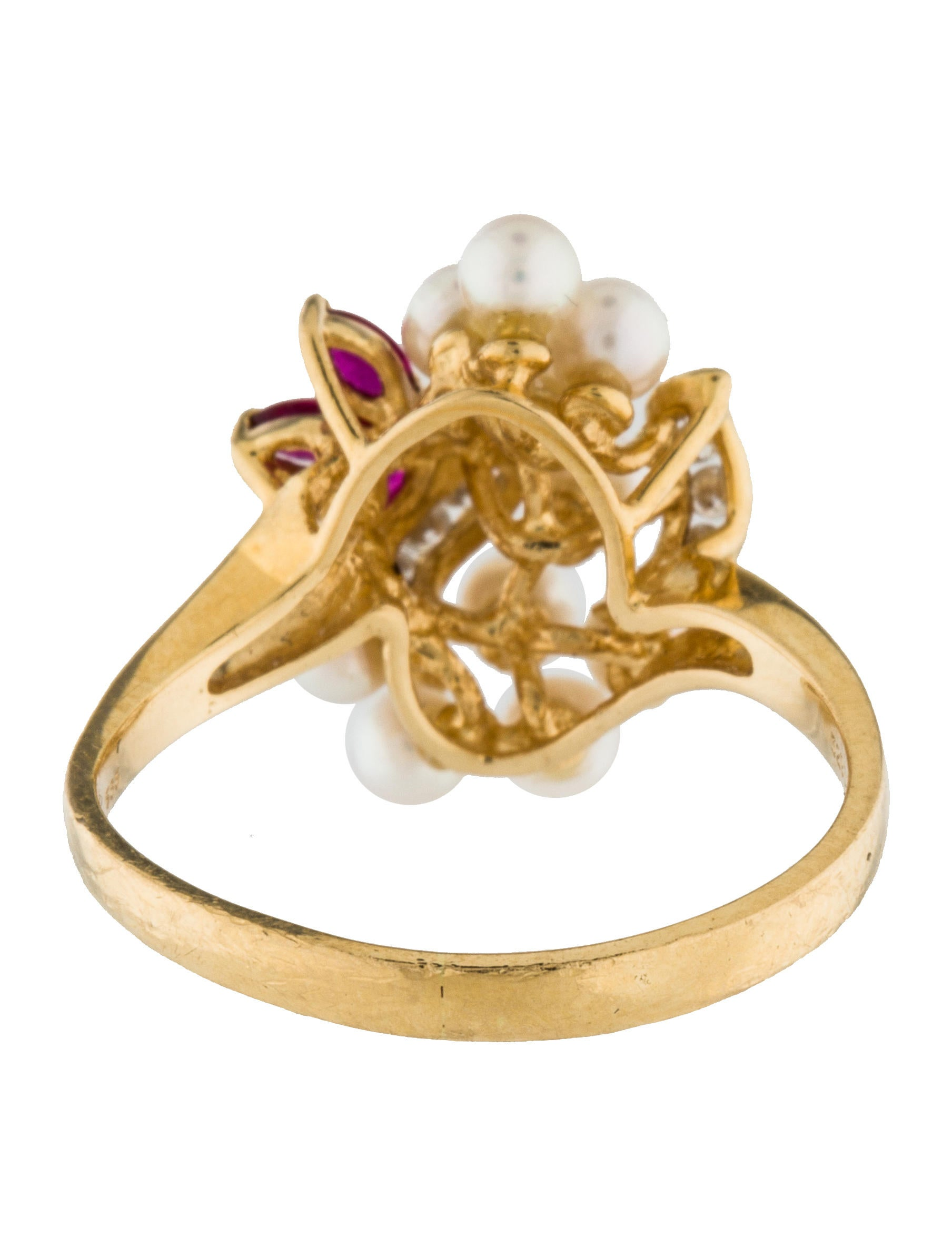 14k diamond ruby pearl ring rings rring39734 the. Black Bedroom Furniture Sets. Home Design Ideas
